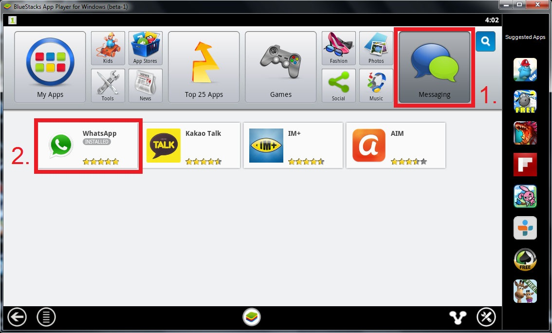 BlueStacks - WhatsApp Messenger Installation