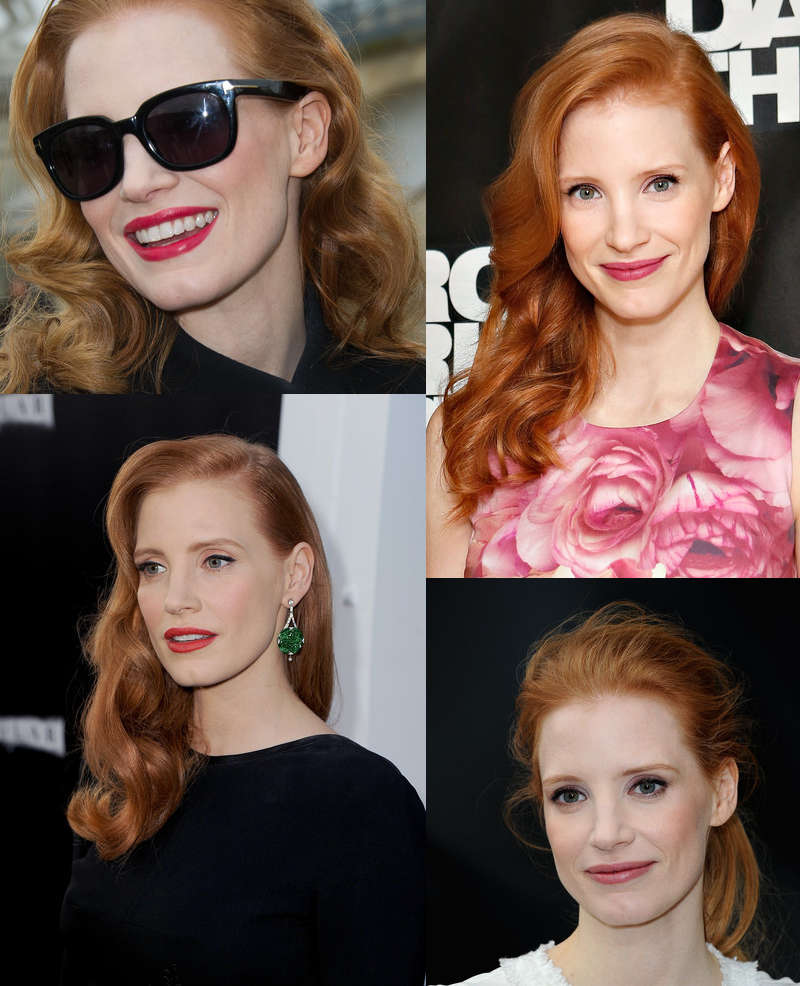 actress jessica chastain makeup and hairstyles pictures