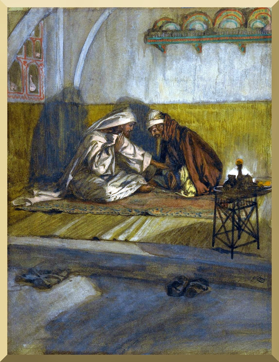 """Interview between Jesus and Nicodemus"" -- by James Tissot.jpg"