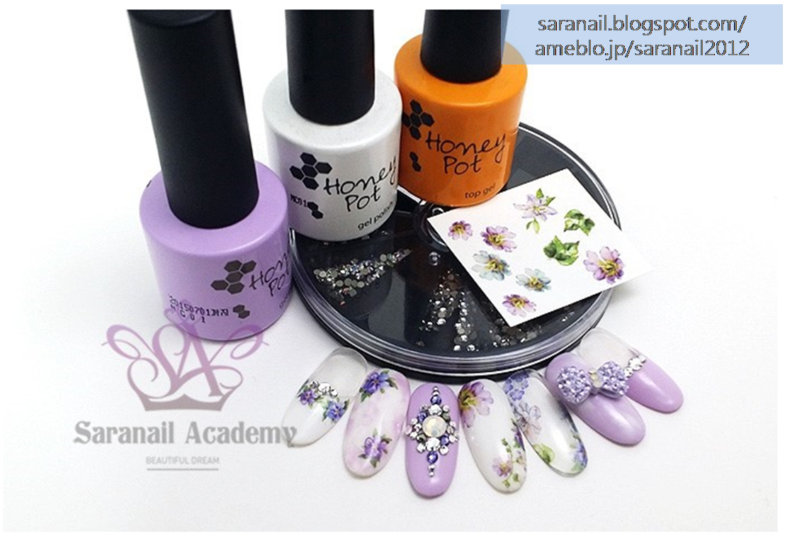 Flower Pattern Nail Art/ Light Purple Lilac Color Nail Art/ Honey Pot Nail Polish/ Flower Pattern Sticker/Simple Nail Art/ Easy to Follow Nail Art