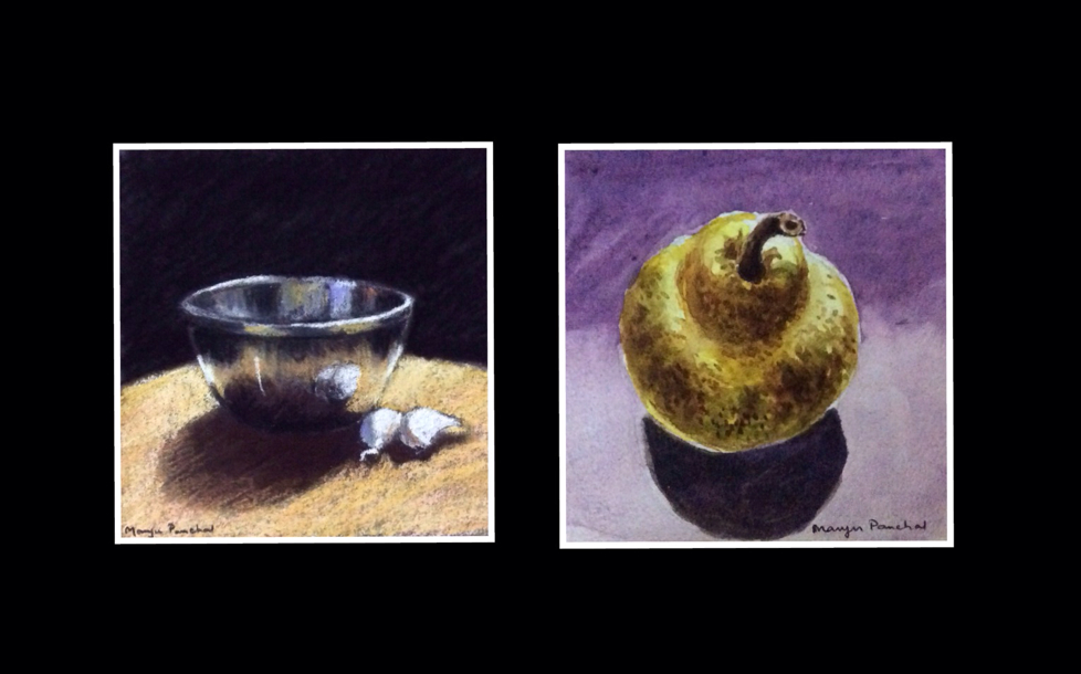 Two still life paintings in pastel and water colour by Manju Panchal