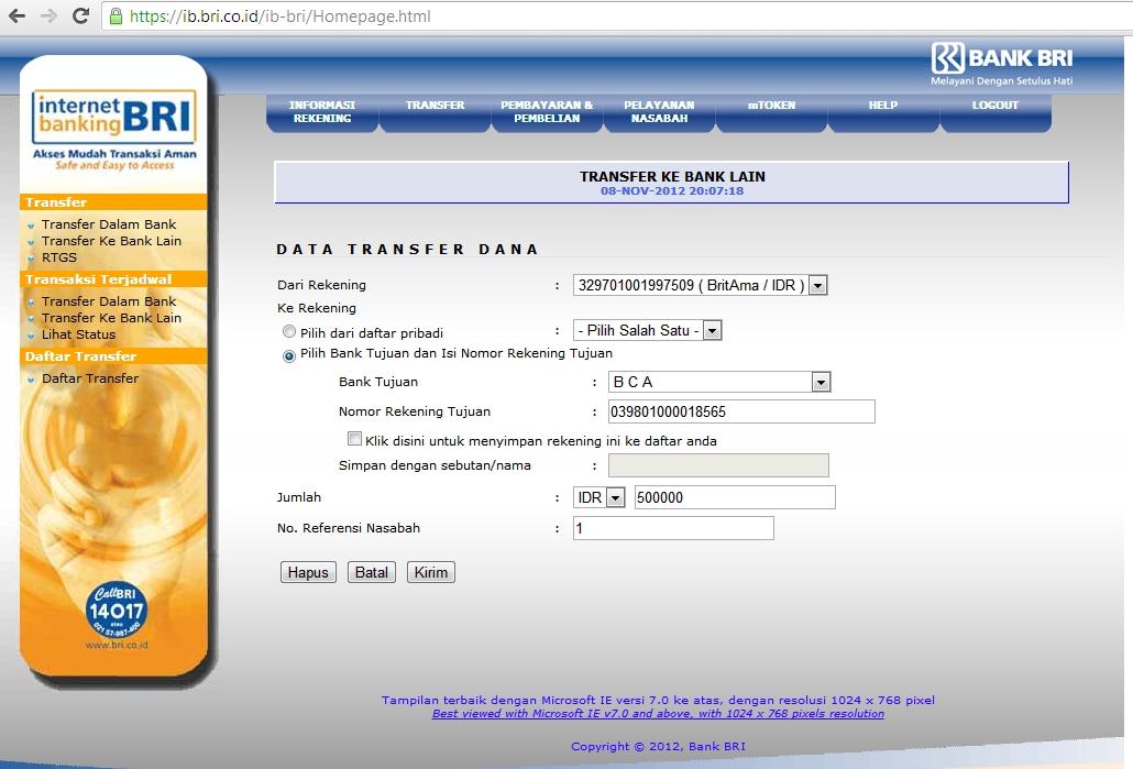 Cara Transfer Dari BRI Ke BCA Via Internet Banking ...
