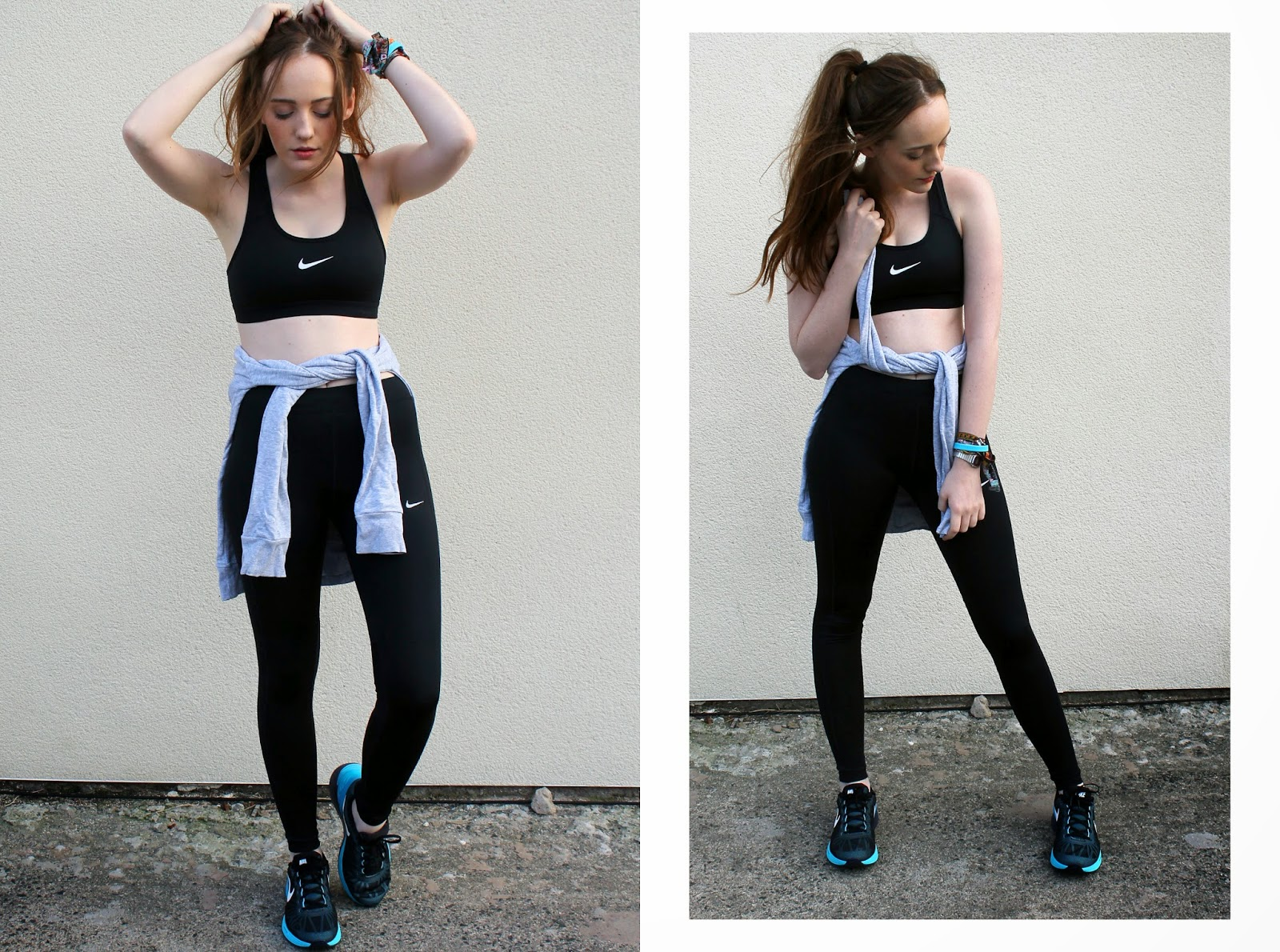 nike sports bra and leggings from JD sports, nike lunar glide blue and black trainers from millets
