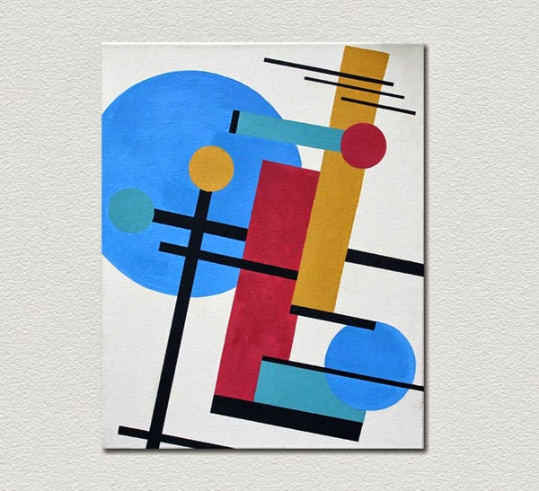 Kazimir Malevich Inspired Geometric Abstract Modern Painting