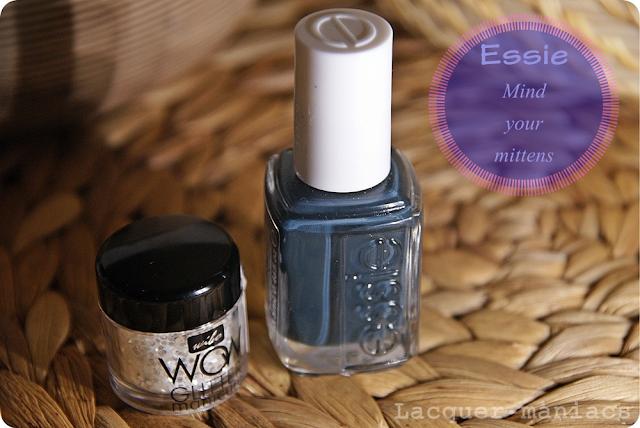Essie Mind your mittens + Wibo WOW glitter manicure