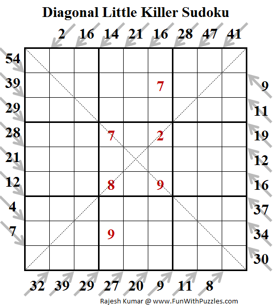 Diagonal Little Killer Sudoku (Fun With Sudoku #128)