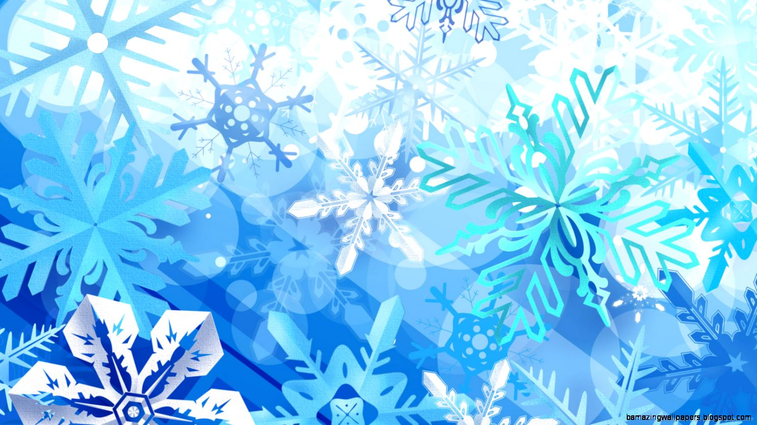 Download 1600x900 Blue Snowflakes Wallpaper