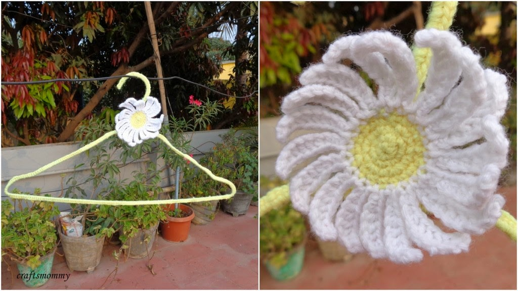 Crocheting On A Hanger : Crochet hangers with matching appliques.