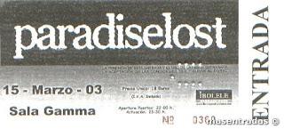 entrada concierto de paradise lost