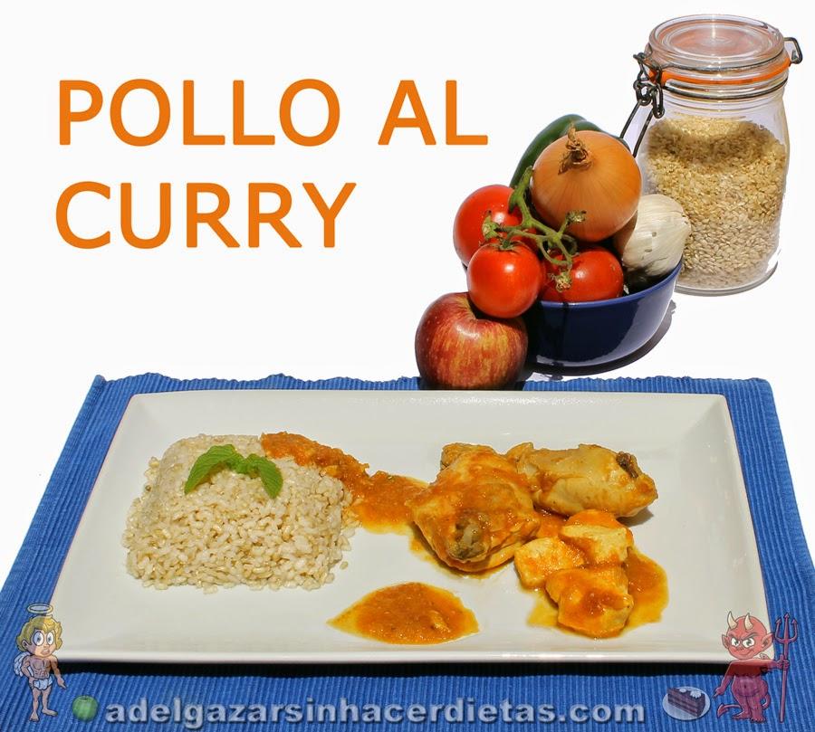Receta saludable fácil de Pollo al curry (plato típico hindú) bajo en calorías, apto para diabéticos y bajo en colesterol.