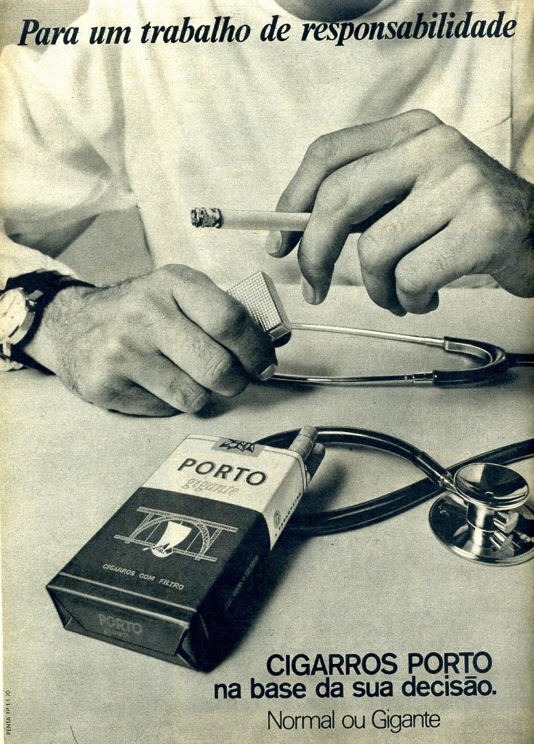 Propaganda dos Cigarros Porto com indicação do produto para médicos.