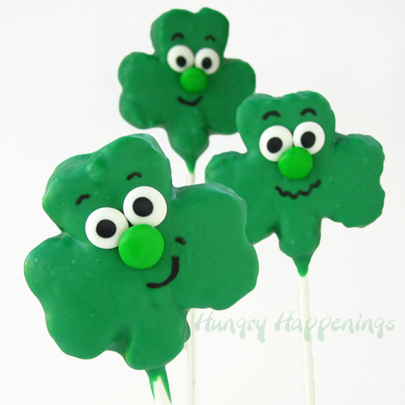 Silly Shamrock Shaped Rice Krispies Treat Pops for St. Patrick's Day