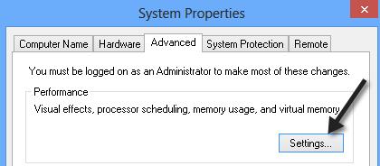 Adjust for Best Performance windows 8 step 2