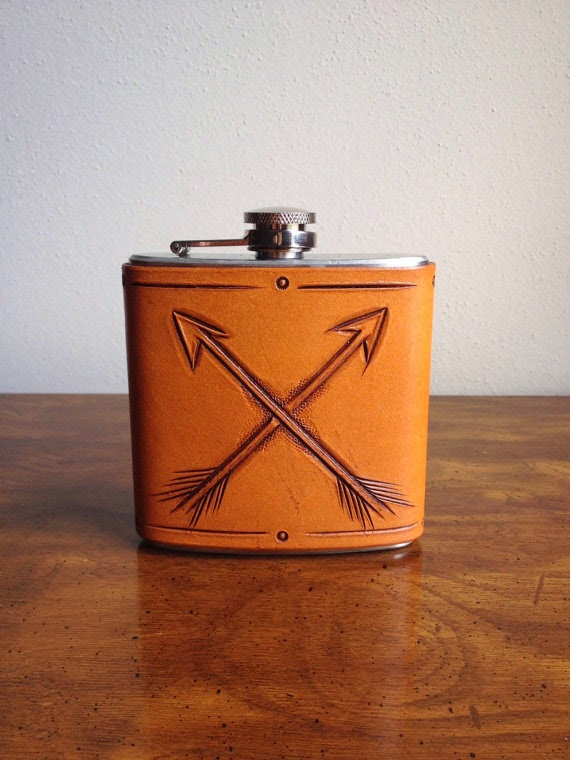 hand-tooled leather flask