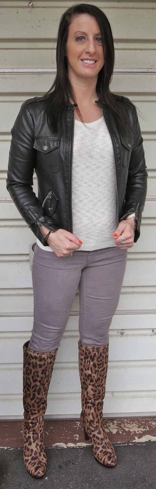 leopard boots, leather jacket, grey jeans, fashion, outfit