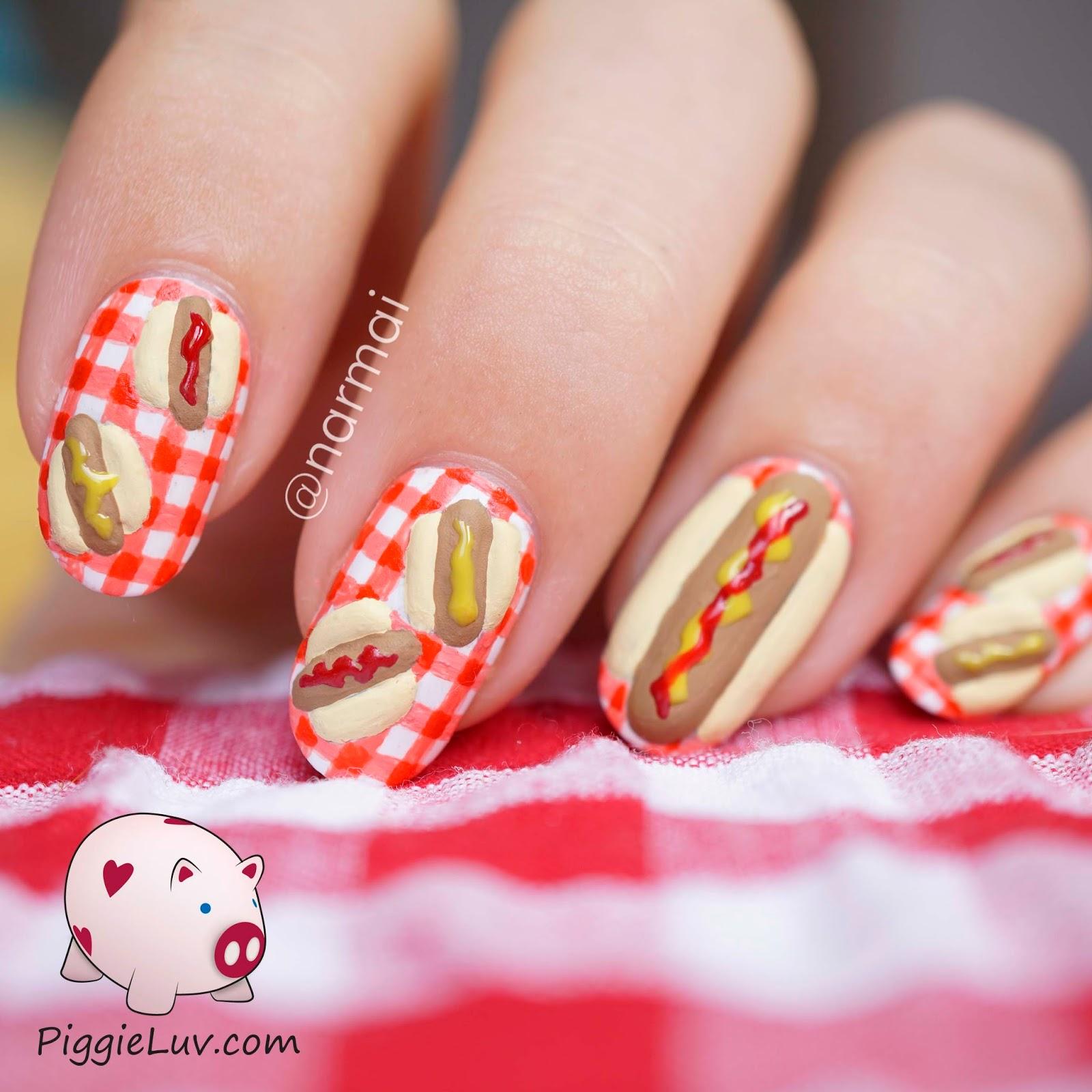 PiggieLuv: 3D hotdog nail art