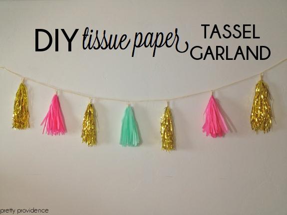 diy tissue paper tassel garland pretty providence. Black Bedroom Furniture Sets. Home Design Ideas
