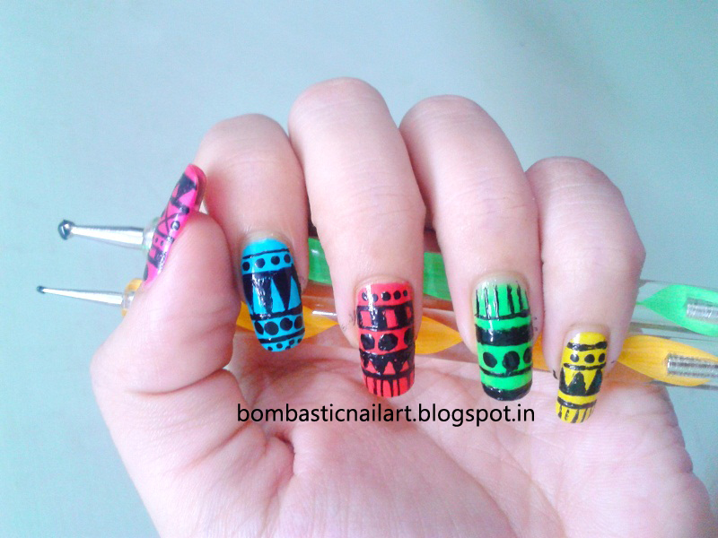 My First Attempt To Tribal Nail Art Bombastic Nail Art
