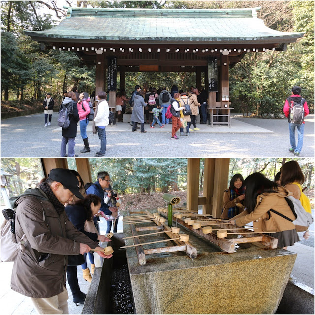 You need to wash your hands and mouth with the wooden spoon in order to cleanse your body and mind before entering the Shrine Memorial Halls at Meiji Shrine in Tokyo, Japan