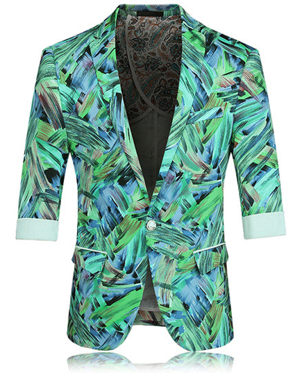 Creative Stunning Nature Artistic Blue Short Sleeve Blazer