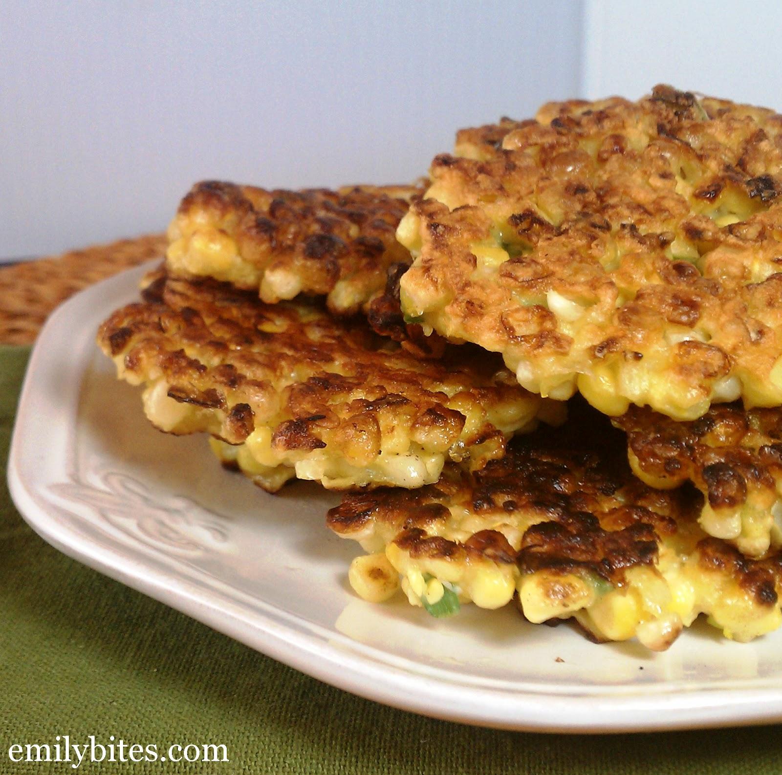 Crispy Corn Fritters - Emily Bites
