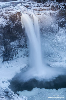 Snoqualmie Falls amidst winter ice, Washington.