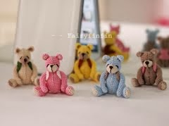Crochet TinyTeddy Bear Dolls: Height of doll 3.5 cm (Sit) - Made of 100 % cotton crochet thread