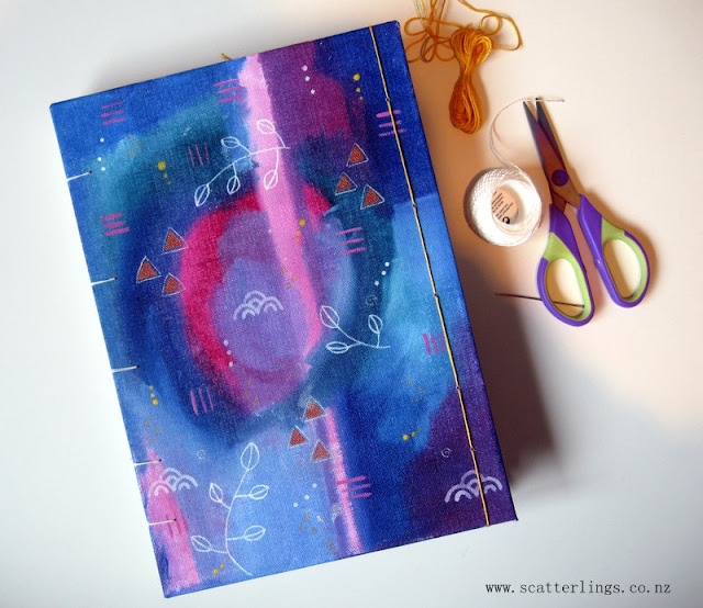 Travel journal with copic stitch, hand-painted cover and Fabriano hot pressed watercolour paper