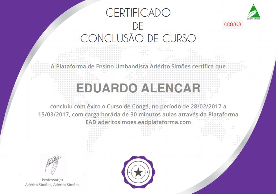 Certificado de Congá com Adério Simões