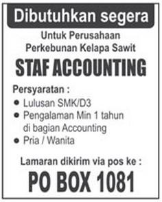 Lowongan Kerja Staff Accounting Perushaan Kebun Kelapa Sawit