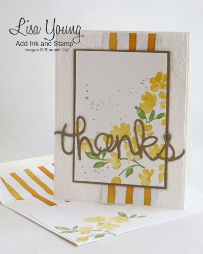 Stampin' Up! Painted Petals stamp set in daffodil yellow. Striped background and die cut sentiment. Matching envelope. Handmade card by Lisa Young, Add Ink and Stamp