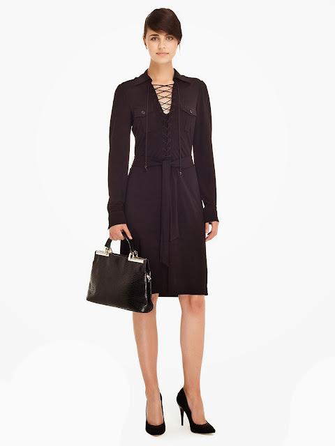 yakası bağcıklı 2014 siyah elbise modeli, ipekyol, kısa elbise,
