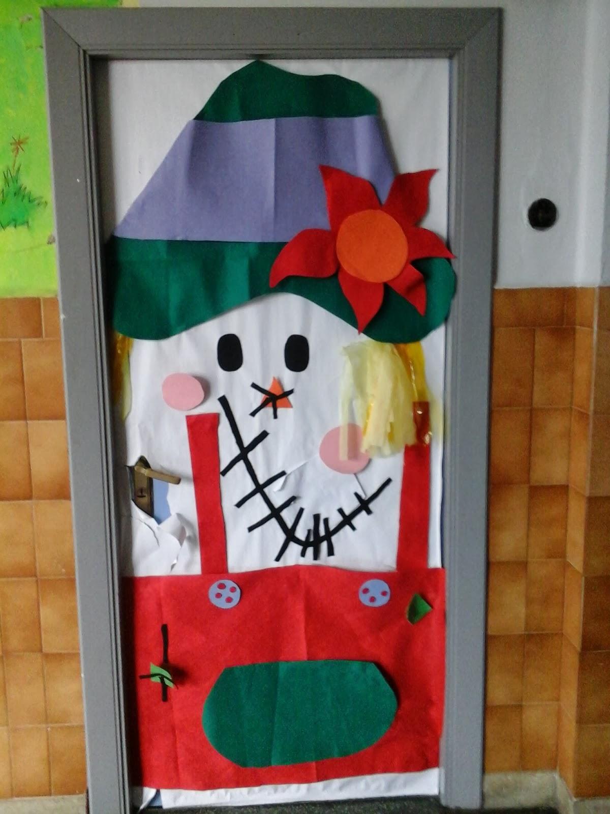Kala y chas decoraci n de oto o en el colegio for Puertas decoradas navidad material reciclable
