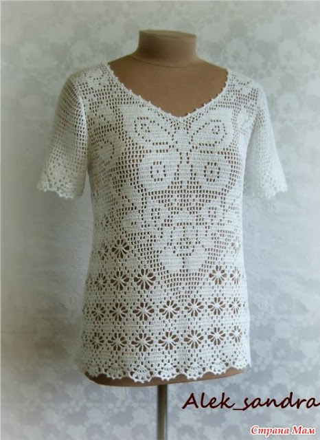crochet rose and butterfly filet for summer top