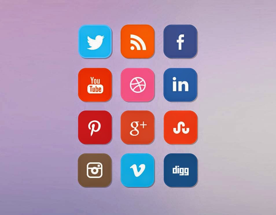 Clean Flat Social Media Icon Set