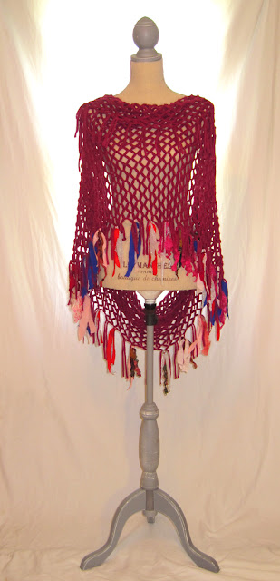Upcycled cranberry color infinity knitted scarf shawl poncho with gypsy boho looks handmade colorful fringes adorned