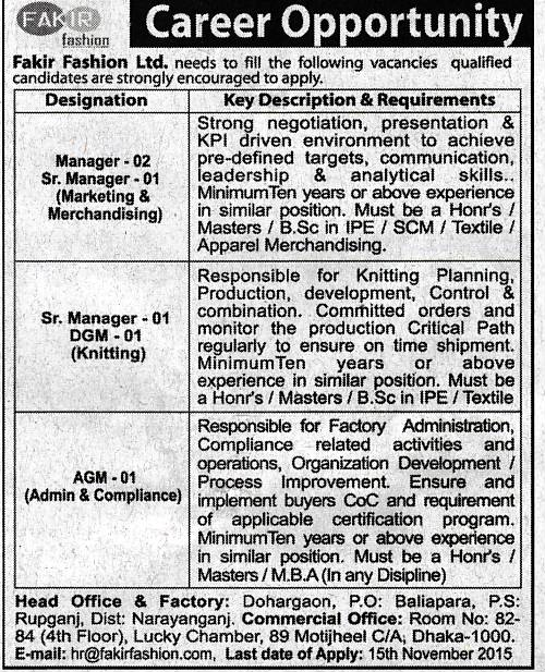 All Newspaper Jobs Fakir Fashion Ltd Post Manager