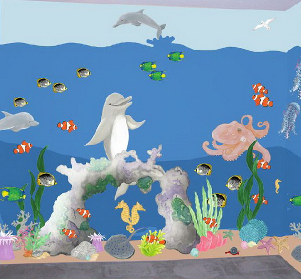 Wall decal quotes wall mural ideas for kids under the sea Kids room wall painting design