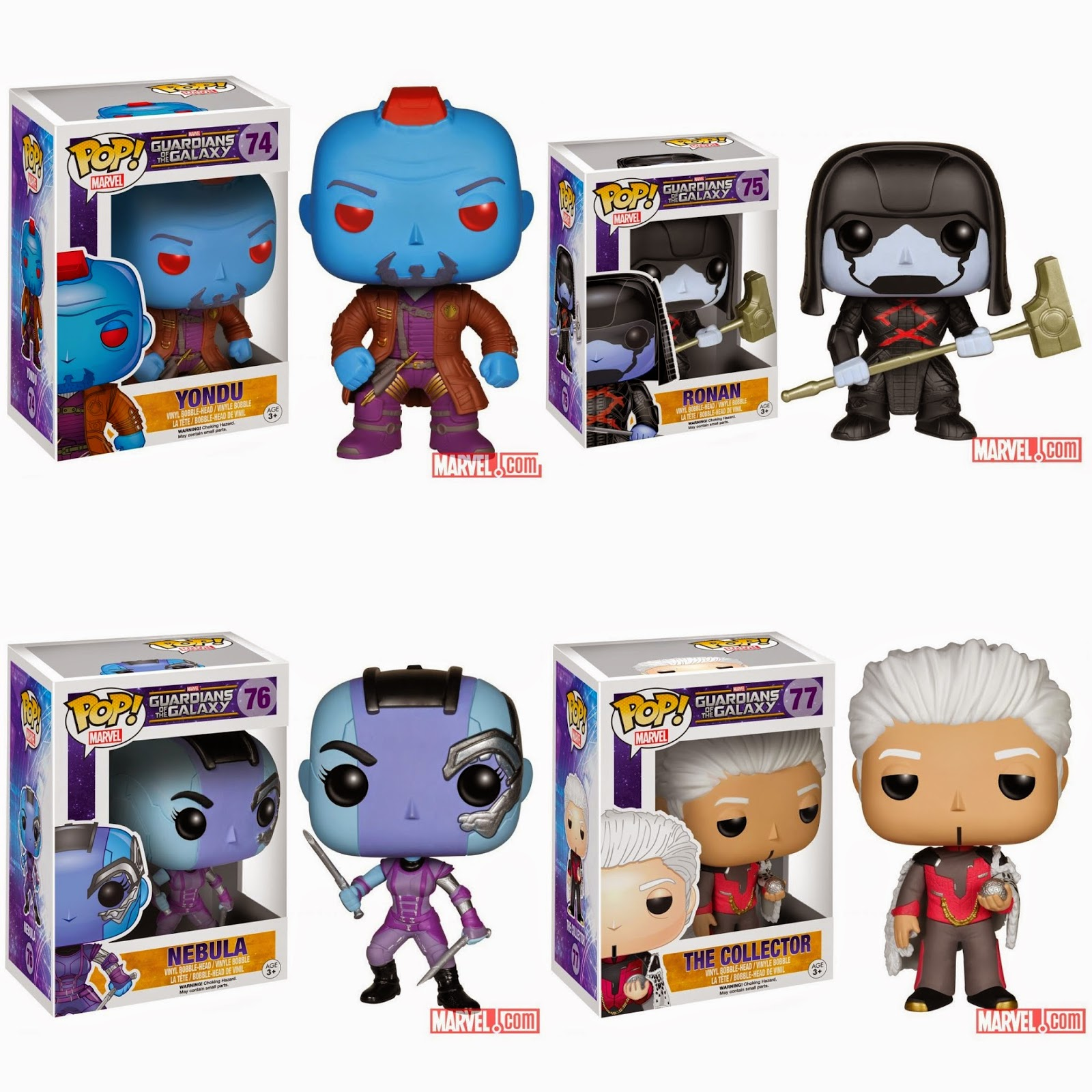Guardians of the Galaxy Pop! Marvel Vinyl Figure Villains Series - Yondu, Ronan, Nebula & The Collector