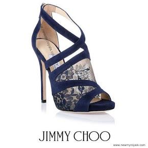 Princess Sofia Style Jimmy Choo Vantage Navy Lace Sandal