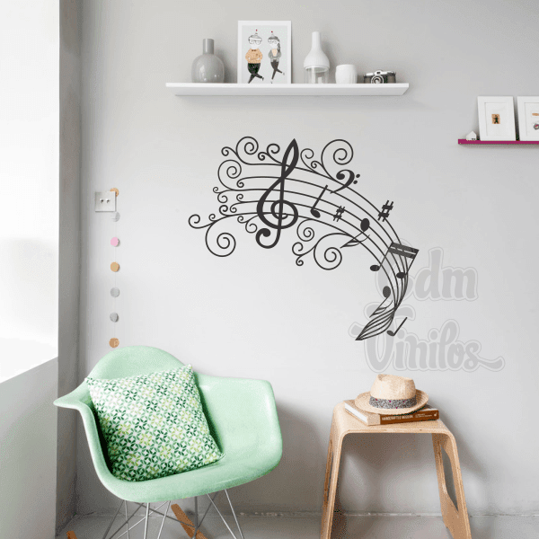 Vinilo decorativo pentagrama swirls w50 cdm vinilos for Vinilo decorativo musical pared