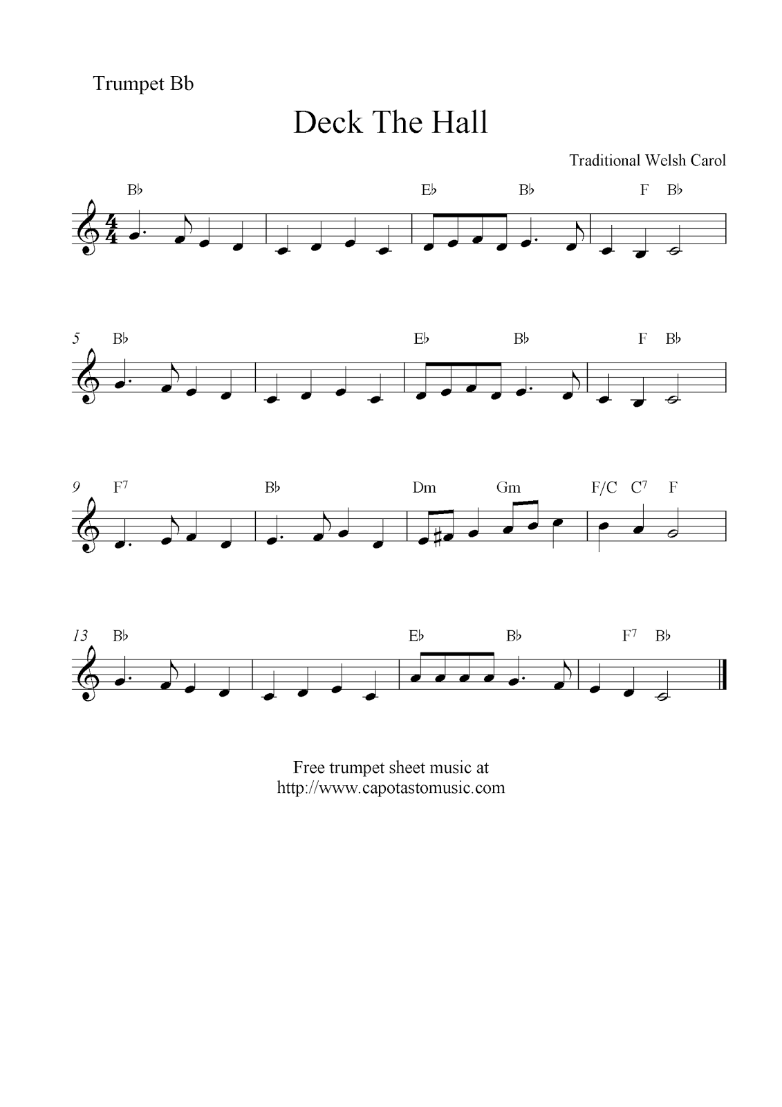Deck The Halls, free Christmas trumpet sheet music