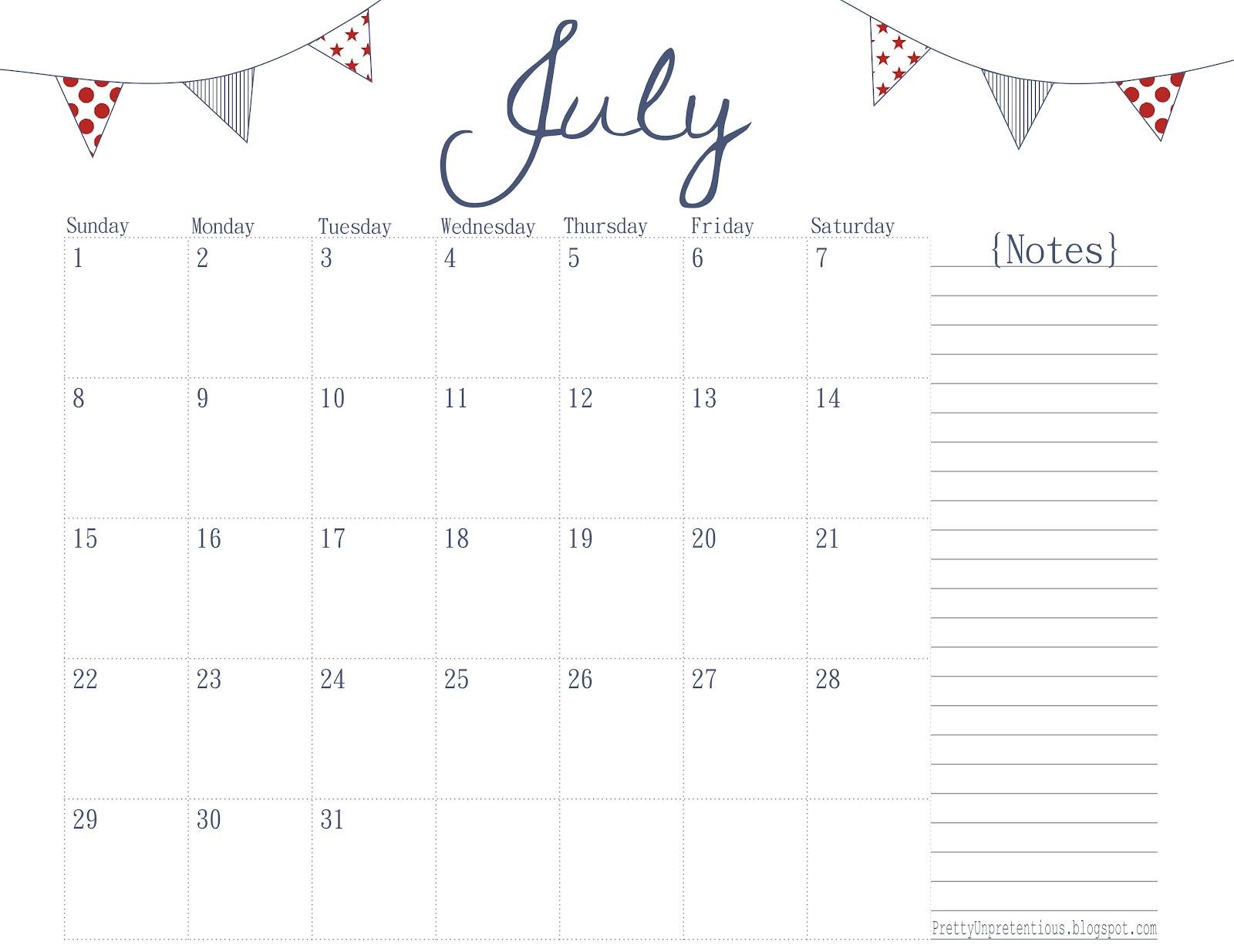 Paper + Ink: Free Printable Calendar - July 2012