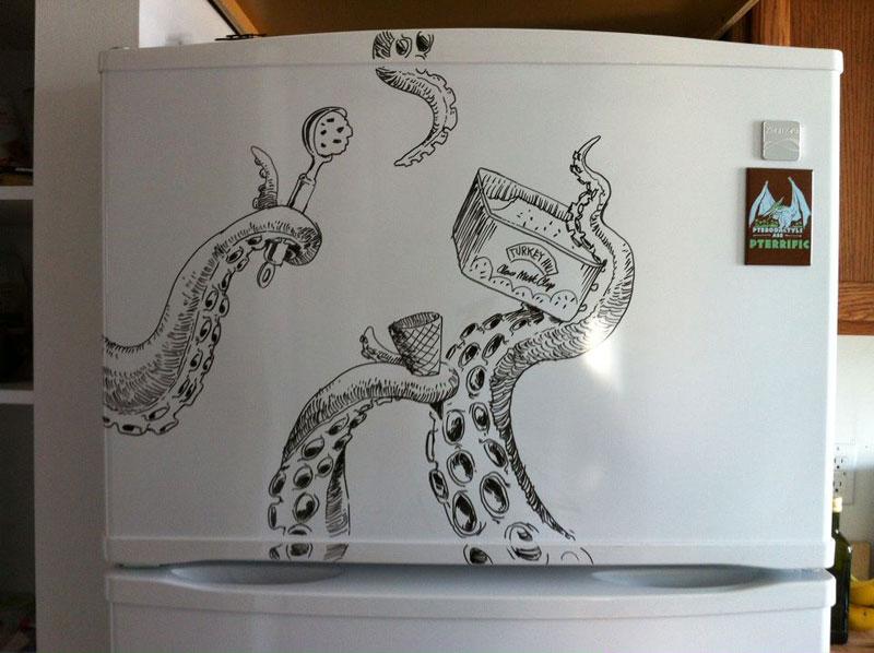 Dibujos creativos sobre la puerta de nuestras neveras for Cool stuff to draw on a whiteboard