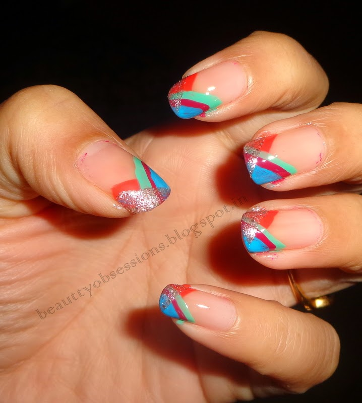 Nail Art Inspired by New Year.. (Without Using Any Nail art Tool) ... :)