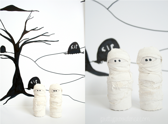 DIY mini mummies Halloween decoration!