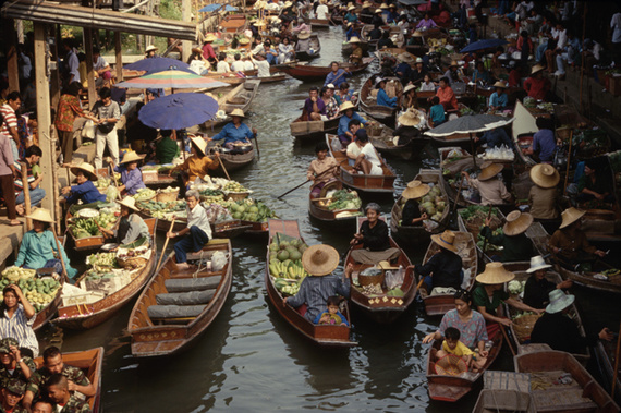 Imagen del mercado flotante de Bangkok