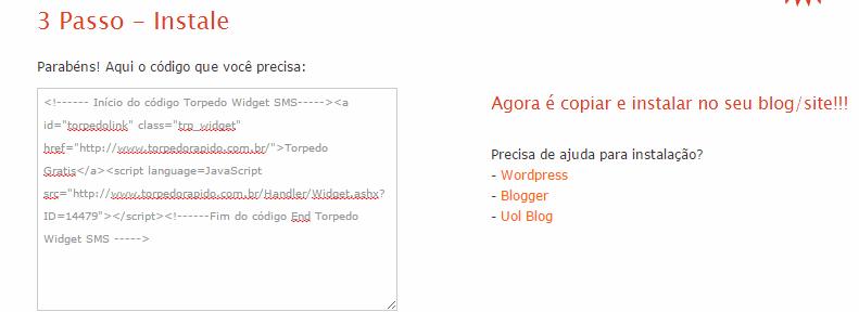 código do Widget torpedo grátis