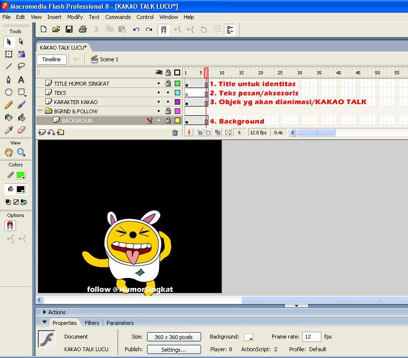 Layer 1. Title untuk Identitas , biasanya diletakkan di bawah animasi
