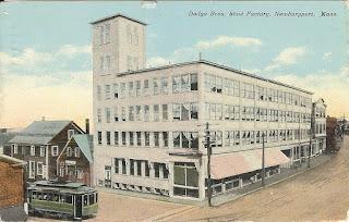 shoe factory, newburyport, massachusetts, shoes, merrimack street, postcard